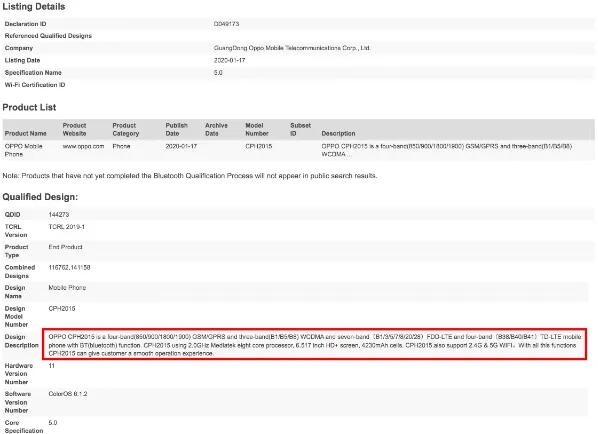 OPPO手机已获得IMDA和NBTC机构的认证:6.5英寸+4230mAh电池