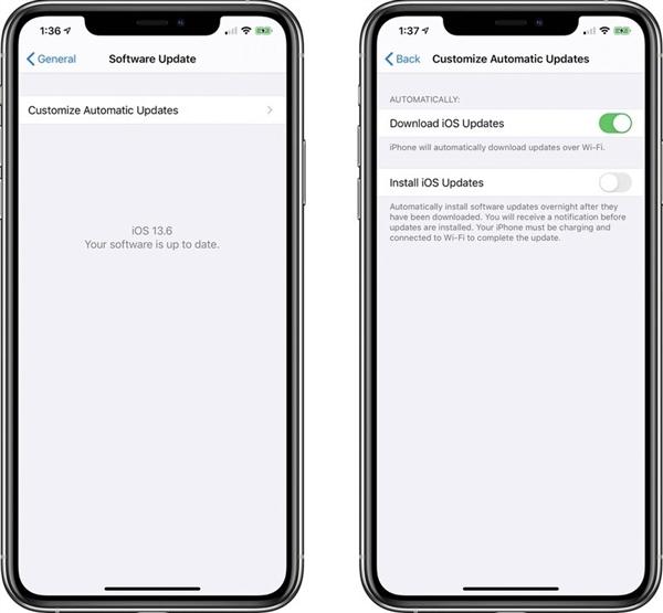 苹果推iOS 13.6测试版:用户可以选择关闭系统更新自动下载