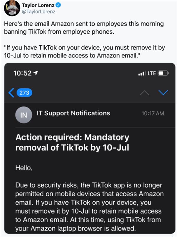 亚马逊下令封杀TikTok 秒撤回:发错了